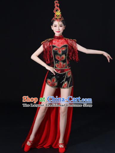 Chinese Traditional Drum Dance Red Clothing Group Yangko Dance Folk Dance Stage Performance Costume for Women