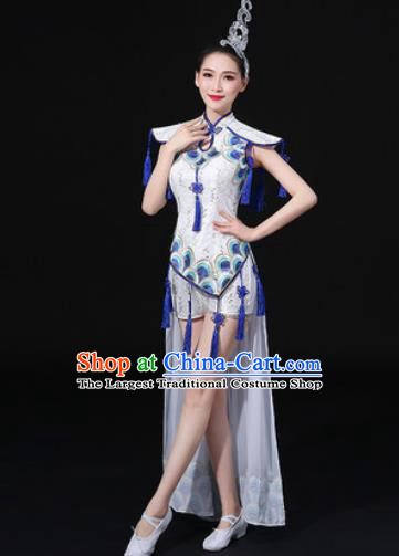 Chinese Traditional Drum Dance White Clothing Group Yangko Dance Folk Dance Stage Performance Costume for Women
