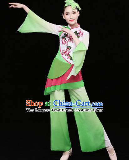 Chinese Traditional Fan Dance Green Clothing Group Yangko Dance Folk Dance Stage Performance Costume for Women
