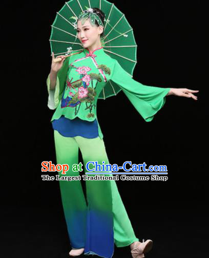 Chinese Traditional Folk Dance Fan Dance Green Clothing Group Yangko Dance Stage Performance Costume for Women