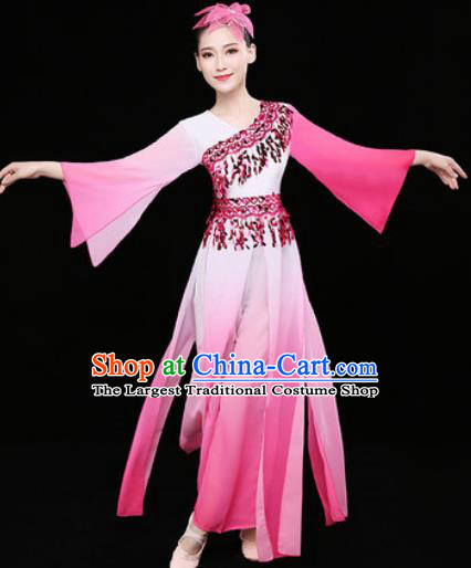 Chinese Traditional Classical Dance Fan Dance Pink Dress Umbrella Dance Stage Performance Costume for Women