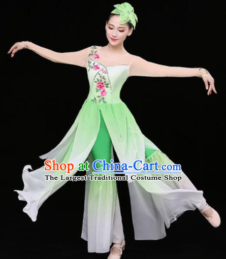 Chinese Traditional Classical Dance Lotus Dance Green Dress Umbrella Dance Stage Performance Costume for Women