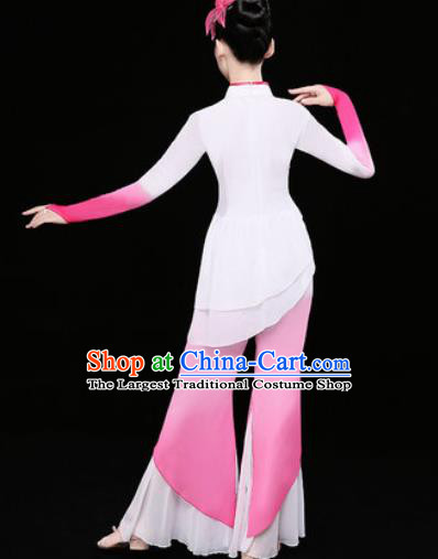 Chinese Traditional Stage Performance Fan Dance Pink Clothing Folk Dance Group Yangko Dance Costume for Women