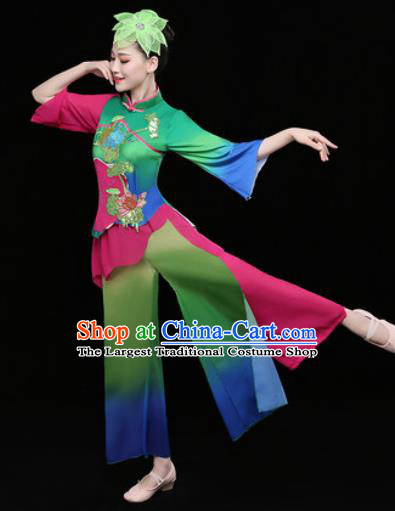 Chinese Traditional Stage Performance Fan Dance Green Clothing Folk Dance Group Yangko Dance Costume for Women