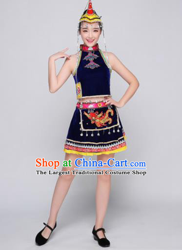 Traditional Chinese Miao Nationality Folk Dance Royal Blue Dress Hmong National Ethnic Costume for Women