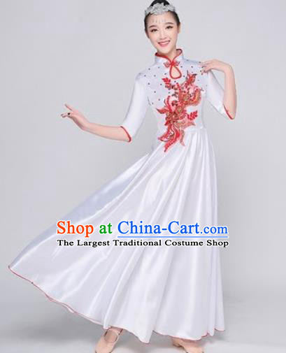 Chinese Traditional Chorus White Dress Opening Dance Modern Dance Stage Performance Costume for Women