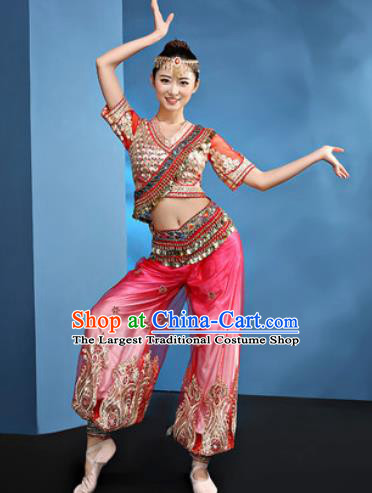 Traditional Chinese Folk Dance Stage Show Clothing Belly Dance Rosy Costume for Women