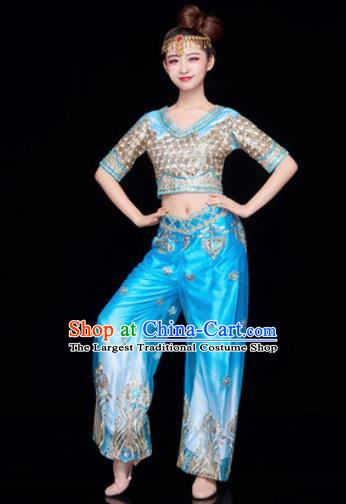Traditional Chinese Folk Dance Stage Show Clothing Belly Dance Blue Costume for Women