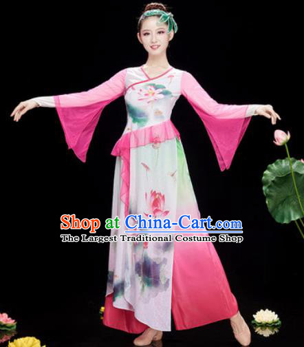 Chinese Traditional Umbrella Dance Printing Lotus Pink Dress Classical Dance Stage Performance Costume for Women