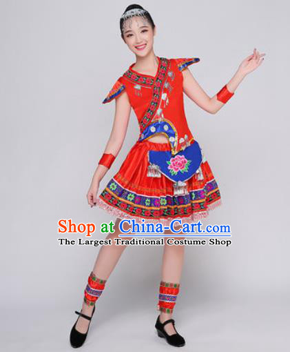 Traditional Chinese Miao Nationality Folk Dance Red Dress Hmong National Ethnic Costume for Women