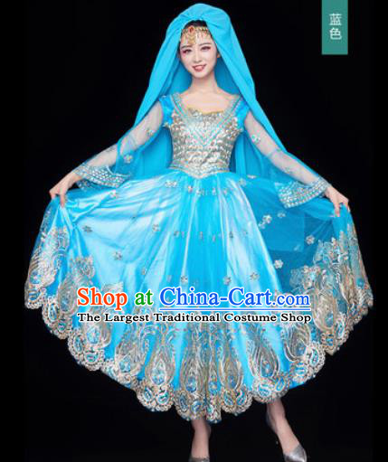 Chinese Traditional Opening Dance Blue Bubble Dress Modern Dance Chorus Stage Performance Costume for Women