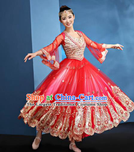 Chinese Traditional Opening Dance Rosy Bubble Dress Modern Dance Chorus Stage Performance Costume for Women