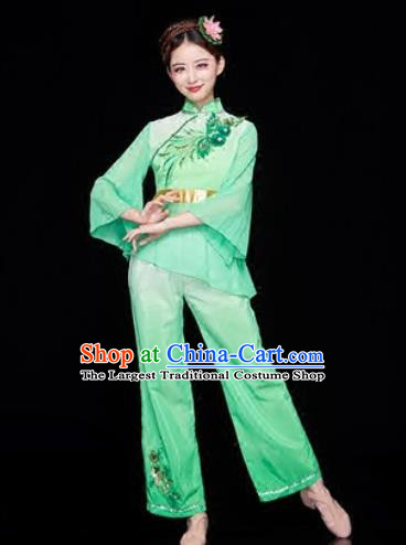 Traditional Chinese Folk Dance Stage Show Clothing Group Yangko Dance Green Costume for Women