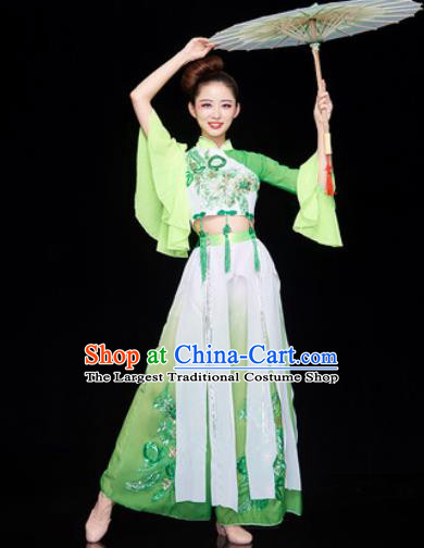 Traditional Chinese Folk Dance Stage Show Clothing Group Umbrella Dance Green Costume for Women