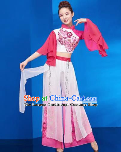 Traditional Chinese Folk Dance Stage Show Clothing Group Umbrella Dance Pink Costume for Women