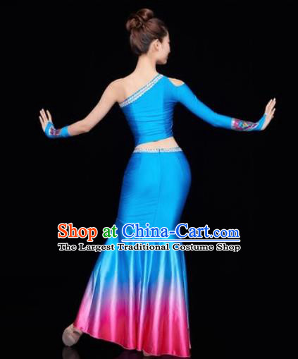 Traditional Chinese Dai Nationality Folk Dance Deep Blue Dress National Ethnic Peacock Dance Costume for Women