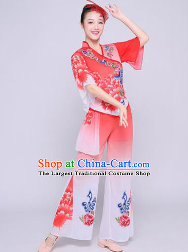 Chinese Traditional Fan Dance Clothing Folk Dance Group Yangko Dance Costume for Women