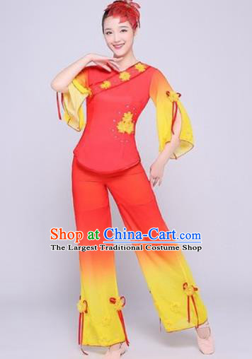 Chinese Traditional Folk Dance Fan Dance Red Clothing Group Yangko Dance Costume for Women
