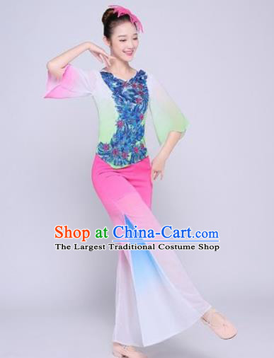 Chinese Traditional Folk Dance Fan Dance Pink Clothing Group Yangko Dance Costume for Women