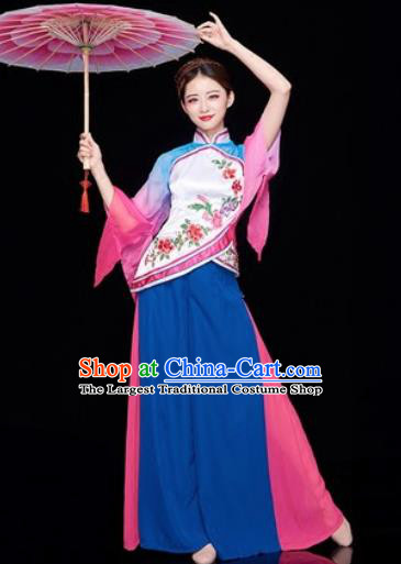 Traditional Chinese Folk Dance Stage Show Clothing Group Fan Dance Costume for Women
