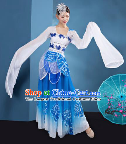 Chinese Traditional Umbrella Dance Blue Dress Classical Lotus Dance Stage Performance Costume for Women