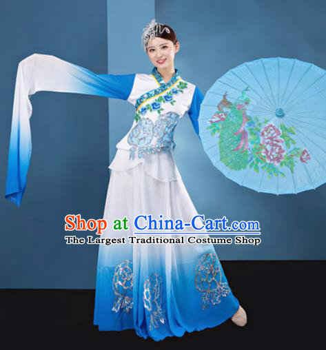 Chinese Traditional Umbrella Dance White Dress Classical Lotus Dance Stage Performance Costume for Women