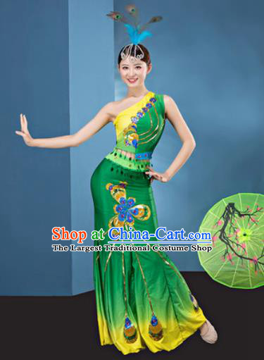Traditional Chinese Dai Nationality Folk Dance Green Dress National Ethnic Peacock Dance Costume for Women