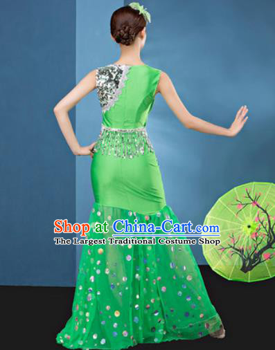 Traditional Chinese Dai Nationality Folk Dance Green Veil Dress National Ethnic Peacock Dance Costume for Women