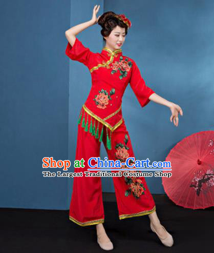 Traditional Chinese Folk Dance Stage Show Clothing Group Fan Dance Red Costume for Women