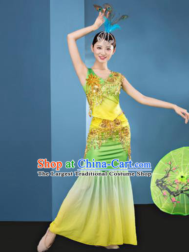 Traditional Chinese Dai Nationality Folk Dance Yellow Dress National Ethnic Peacock Dance Costume for Women