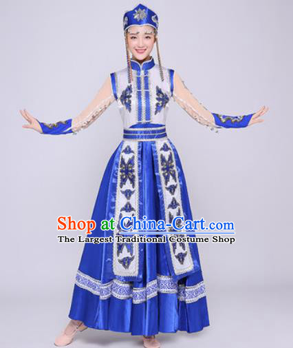 Traditional Chinese Mongol Nationality Folk Dance Royalblue Dress Mongolian National Ethnic Costume for Women