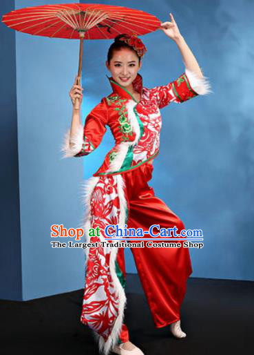 Traditional Chinese Folk Dance Stage Show Clothing Group Fan Dance Yangko Red Costume for Women