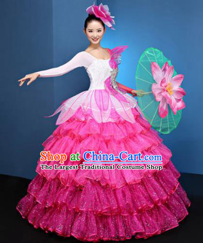 Chinese Traditional Opening Dance Rosy Veil Bubble Dress Modern Dance Chorus Stage Performance Costume for Women