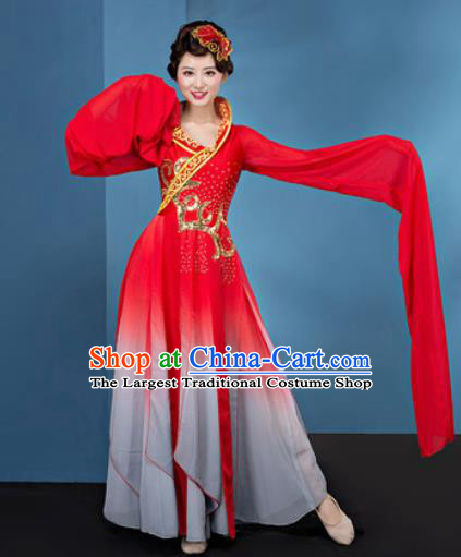 Chinese Traditional Umbrella Dance Red Water Sleeve Dress Classical Lotus Dance Stage Performance Costume for Women
