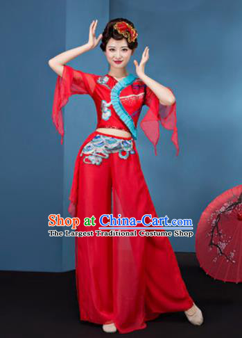 Traditional Chinese Folk Dance Yangko Stage Show Clothing Group Fan Dance Red Veil Costume for Women