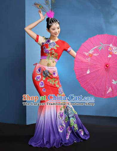 Traditional Chinese Dai Nationality Folk Dance Red Dress National Ethnic Peacock Dance Costume for Women
