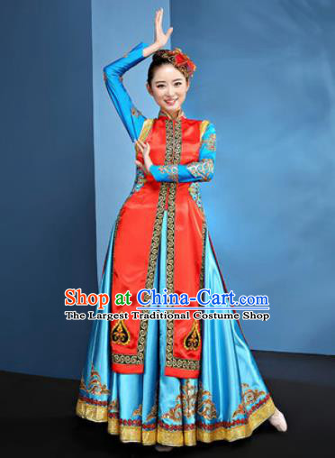 Traditional Chinese Mongol Nationality Blue Dress National Ethnic Folk Dance Mongolian Costume for Women