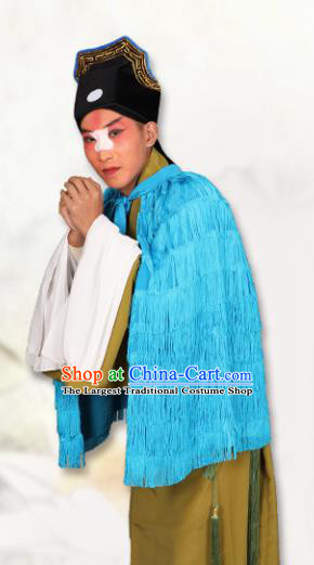 Chinese Traditional Peking Opera Blue Coir Raincoat Classical Beijing Opera Costume for Men