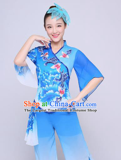 Chinese Traditional Folk Dance Fan Dance Printing Peony Blue Clothing Group Yangko Dance Costume for Women