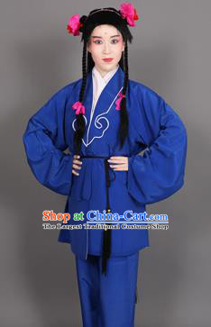 Chinese Traditional Peking Opera Clown Royal Blue Clothing Classical Beijing Opera Attendants Costume for Men