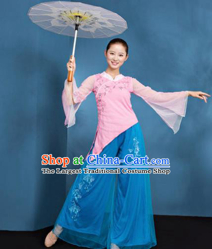 Traditional Chinese Folk Dance Stage Show Clothing Group Fan Dance Pink Costume for Women