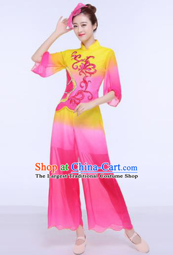 Chinese Traditional Folk Dance Group Dance Clothing Yangko Fan Dance Costume for Women