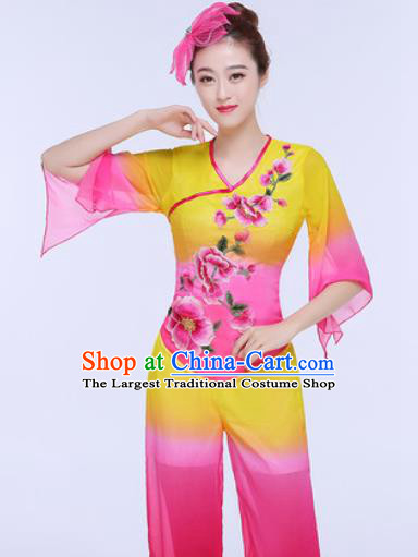 Traditional Chinese Folk Dance Group Dance Clothing Yangko Fan Dance Costume for Women