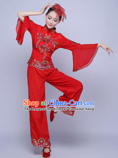 Traditional Chinese Folk Dance Group Dance Red Clothing Yangko Dance Costume for Women