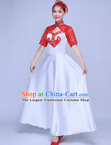 Chinese Traditional Chorus Red Lace Dress Opening Dance Modern Dance Stage Performance Costume for Women