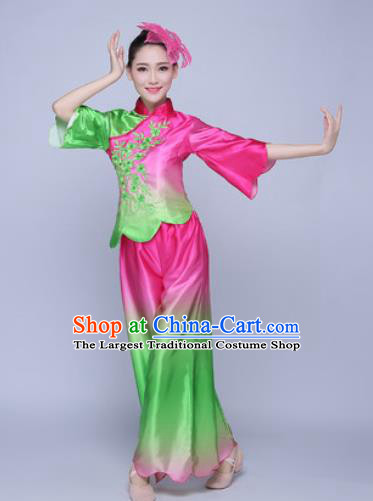 Traditional Chinese Folk Dance Green Silk Clothing Yangko Dance Costume for Women