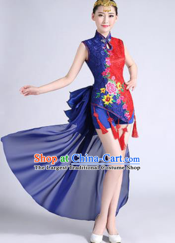 Traditional Chinese Folk Dance Drum Dance Blue Clothing Yangko Dance Costume for Women