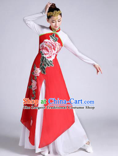 Chinese Traditional Classical Dance Printing Peony Red Dress Umbrella Dance Stage Performance Costume for Women