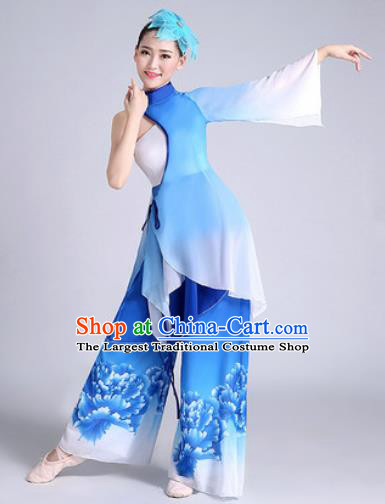 Chinese Traditional Classical Dance Fan Dance Blue Dress Umbrella Dance Stage Performance Costume for Women