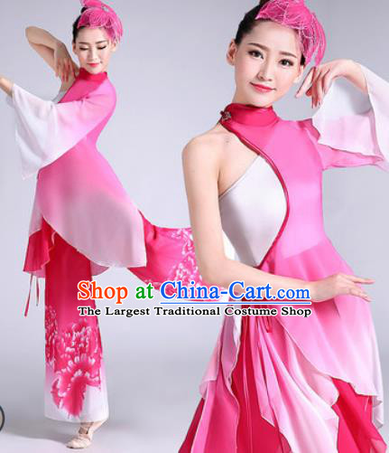 Chinese Traditional Classical Dance Fan Dance Rosy Dress Umbrella Dance Stage Performance Costume for Women